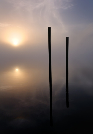 Twin Pilings at Dawn